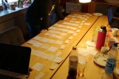 Auf dem großen, großen Tisch haben wir dann die verschiedenen Szenen zu Stimmungen und Stücken in Verbindung gesetzt...